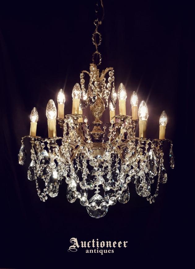 1930年代<br>法國黃銅水晶吊燈 1