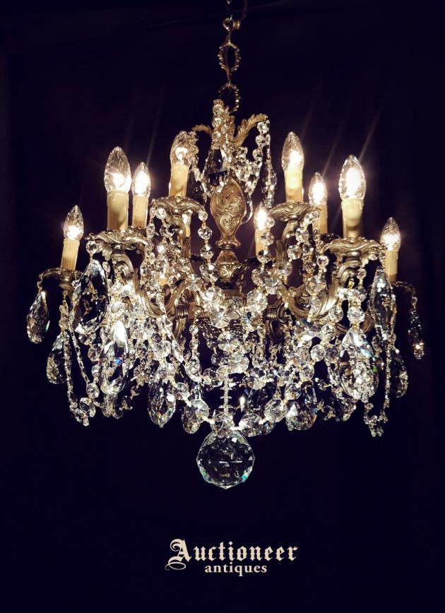 1930年代<br>法國黃銅水晶吊燈 3