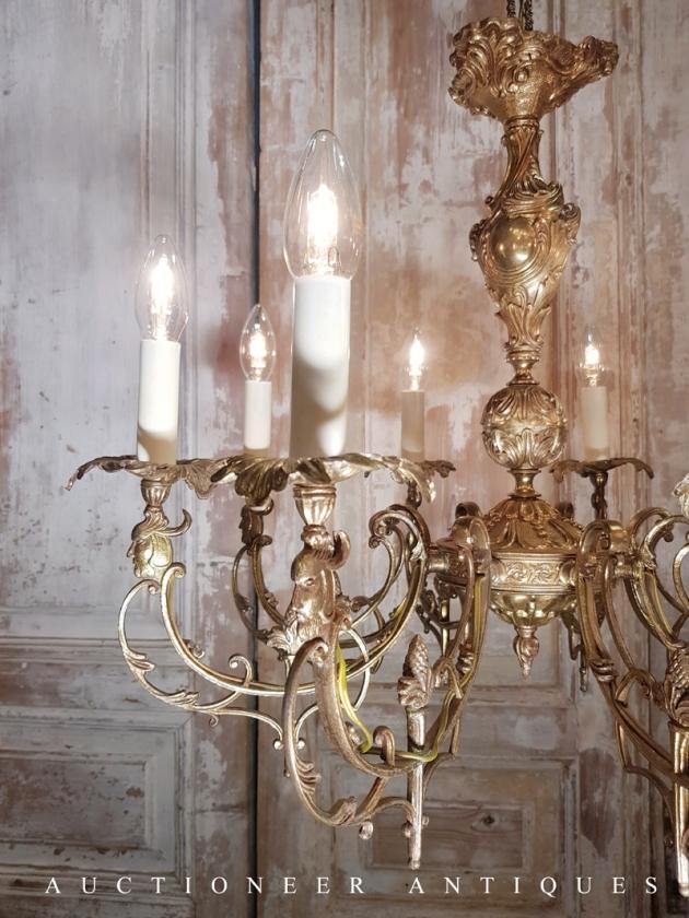 1900年代<br>法國哥德黃銅吊燈 2