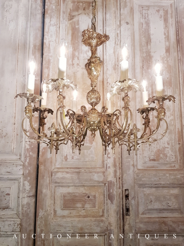 1900年代<br>法國哥德黃銅吊燈 3