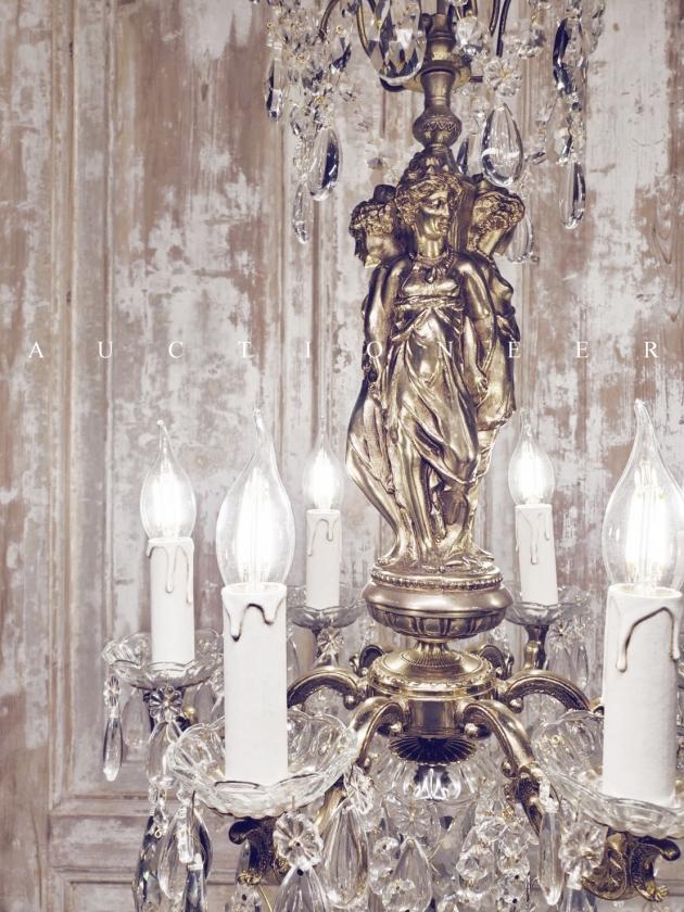 1950年代<br>法國三美神銅雕水晶吊燈 2