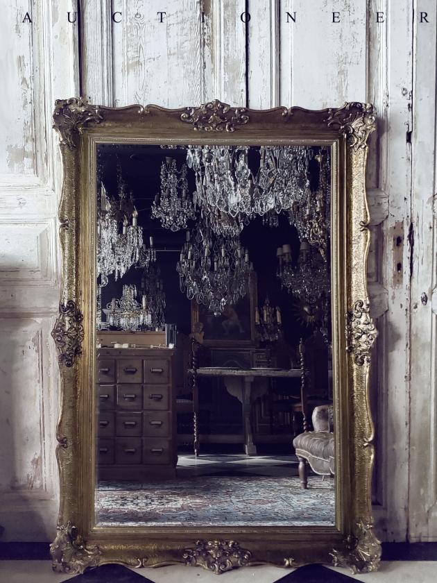 1950年代<br>法國實木雕刻古董鏡 1