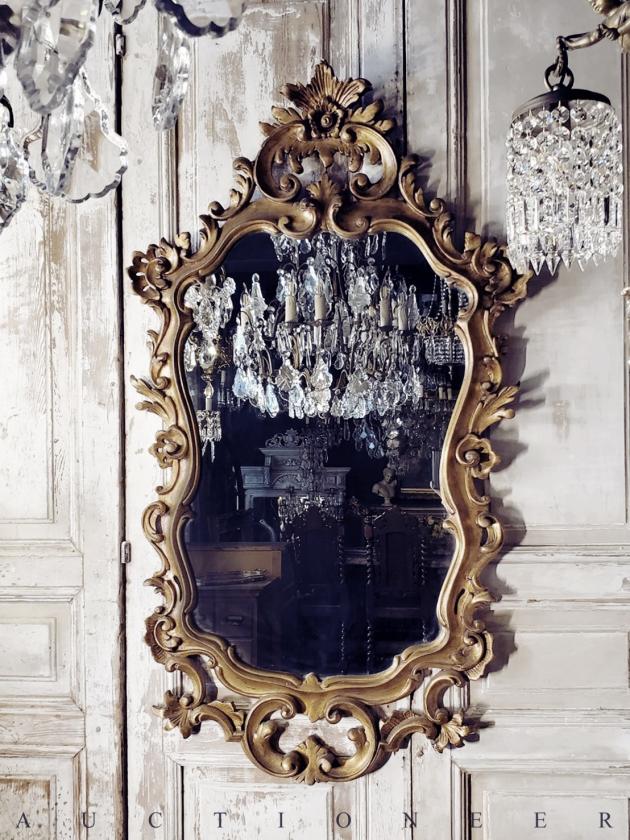 1930年代<br>義大利巴洛克實木掛鏡 1