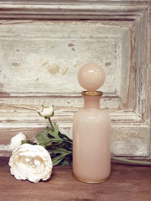 1950年代<br>法國手工粉色奶油玻璃瓶 1
