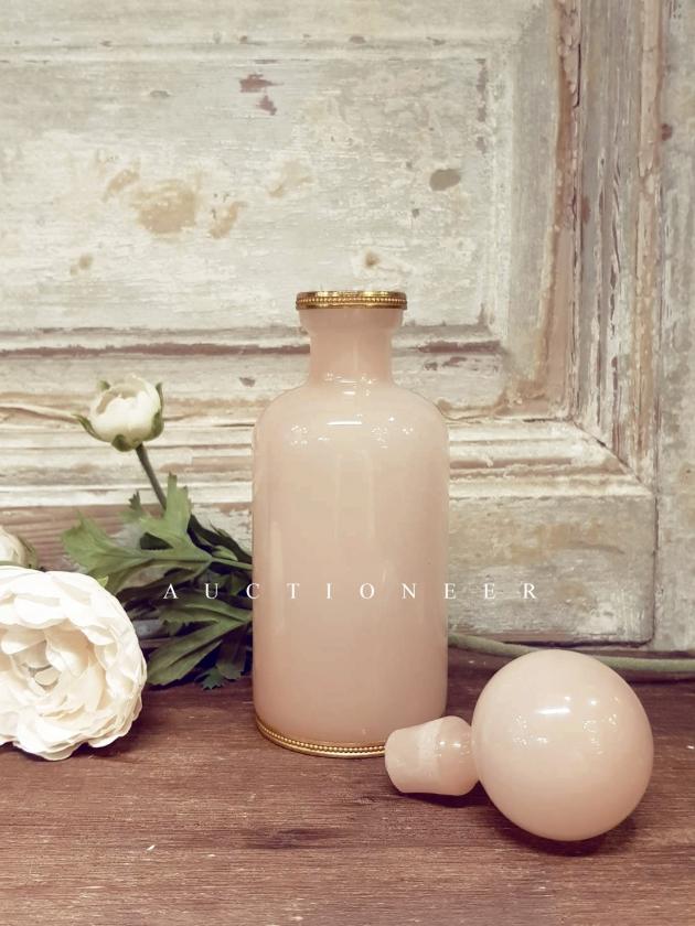 1950年代<br>法國手工粉色奶油玻璃瓶 2